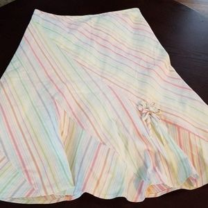 Anthropologie Odille Rainbow Striped Skirt sz4